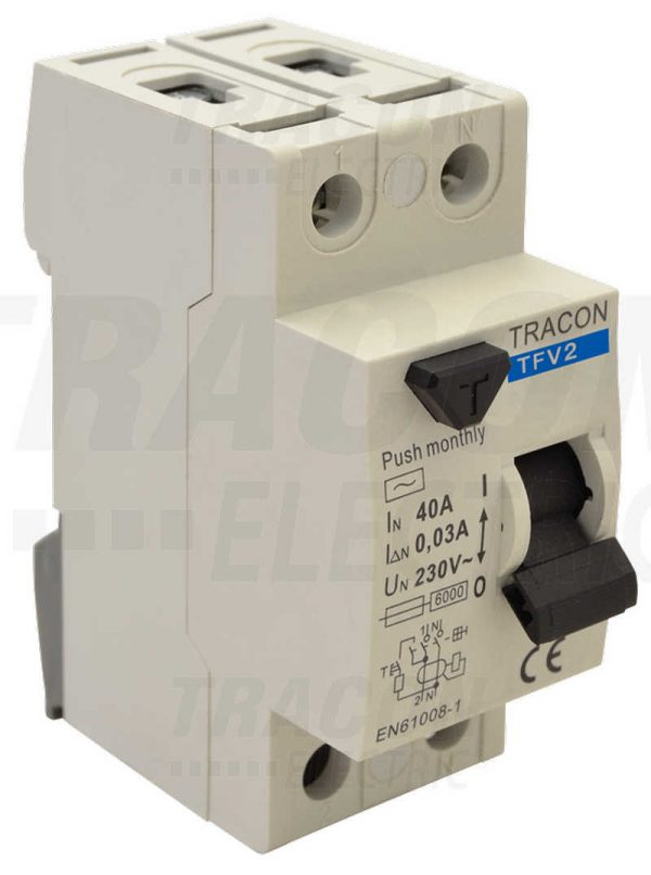 Czinege és fiai elektromos fűtés áruház - Elektromos kiegészítő - Tracon áram-védőkapcsoló, 2 pólusú
