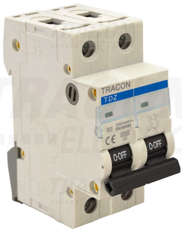 Czinege és fiai elektromos fűtés áruház - Elektromos kiegészítő - Tracon kismegszakító, 2 pólus, B karakterisztika