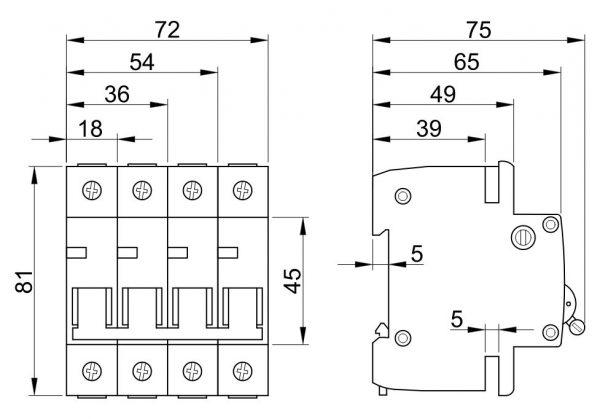 Czinege és fiai elektromos fűtés áruház - Elektromos kiegészítő - Tracon kismegszakító, 4 pólus, B karakterisztika